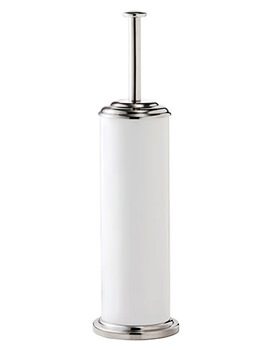 Essentials White And Stainless Steel Toilet Brush And Holder