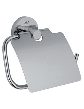Essentials Chrome Toilet Roll Holder With Cover
