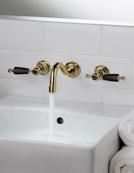 Kensington Wall Mounted 3 Hole Basin Mixer Tap - Antique Gold-Black