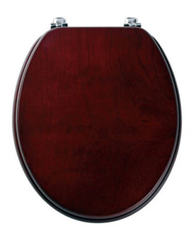 Millennium Wood Veneer Toilet Seat With Chrome Hinges