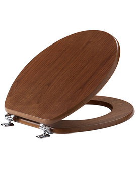 Millennium Toilet Seat With Chrome Hinges Walnut - O142M