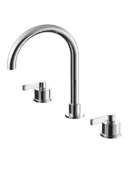 Silver 3 Hole Basin Mixer Tap Without Waste