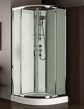 Aqualux Slot And Lock Quadrant Enclosure 900mm With Green Glass Panels