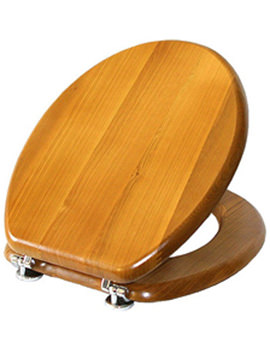 Premier Toilet Seat With Gold Hinges Antique Pine - O203