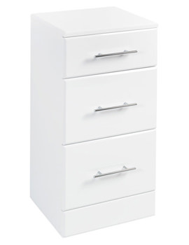 Floor Standing 3 Drawer Unit 350 x 300mm High Gloss White