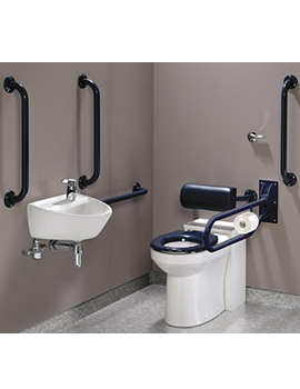 Twyford Doc.M Rimless WC BTW Pack With Blue Grab Rails And Seat