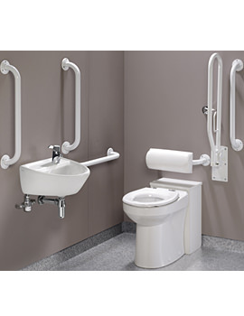 Twyford Doc.M Rimless WC BTW Pack With White Grab Rails And Seat