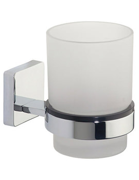 Glide Frosted Glass Tumbler And Chrome Holder - 9516.02