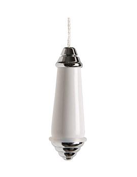 Classic Chrome And White Ceramic Light Pull - 6990C