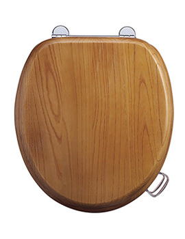 Burlington Oak Toilet Seat With Bar Hinge - S11
