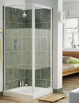 Aqualux Aqua 3 Pivot Door And Side Panel 760mm White Stripe Glass