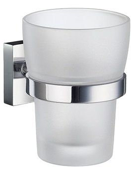 House Frosted Glass Tumbler With Holder