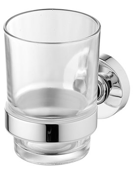 IOM Clear Glass Tumbler And Chrome Holder