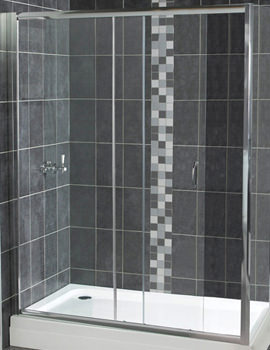 Aqualux Shine Sliding Shower Door 1100mm Polished Silver - FEN0902AQU