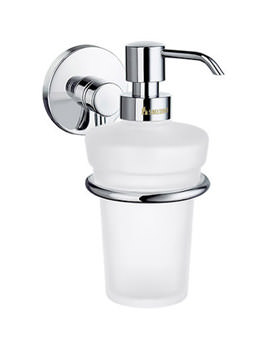 Studio Frosted Glass Soap Dispenser With Holder - NK369