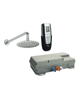 Remote Digital Shower With Round Sheer Fixed Head And Arm