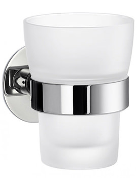 Time Frosted Glass Tumbler With Holder