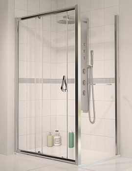 6 Sliding Shower Door 1000mm Polished Silver - Aqualux