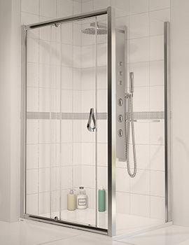 6 Sliding Shower Door 1000mm Polished Silver - Aqualux
