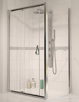 6 Polished Silver Frame Sliding Shower Door 1700mm