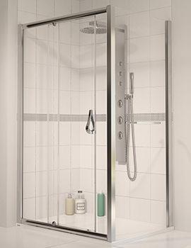 6 Polished Silver Frame Sliding Shower Door 1700mm