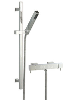 Ultra Quadro Thermostatic Bar Shower Valve With Kubix Slide Rail Kit