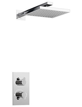 Britton Dual Outlet Thermostatic Shower Valve With Square Shower Head