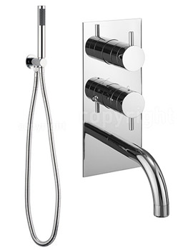 Kai Lever Thermostatic Valve With Spout And Wall Hand Shower Kit