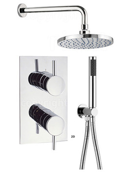 Kai Thermostatic Valve With Wall Shower Head And Handset Kit