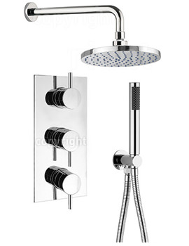 Kai Lever Thermostatic 3 Control Overhead And Hand Shower Set