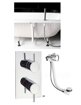 Kai Thermostatic Valve With Deck Handset And Bath Pop-Up Waste