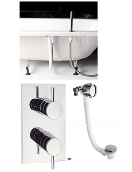 Kai Thermostatic Valve With Deck Handset And Click Clack Waste