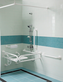 Doc.M Shower Pack With White Grab Rails And Seat-PK7005WH