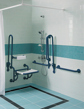 Doc.M Shower Pack With Blue Grab Rails And Seat