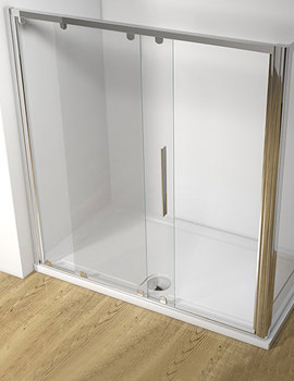 Straight 1000mm Sliding Shower Door With Tray And Waste