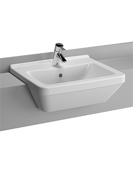 S50 Square 550mm 1 Tap Hole Semi Recessed Basin - 5598B003-0001