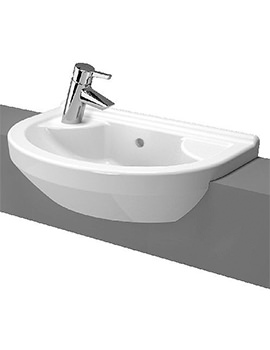 S50 Round Compact 550mm 1 Tap Hole Semi Recessed Basin - Left