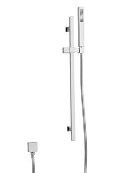 Minimalist Rectangular Slider Rail Shower Kit Chrome