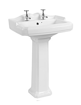 Beo Victorian 580mm Ceramic Basin With 2 Tap Holes And Full Pedestal
