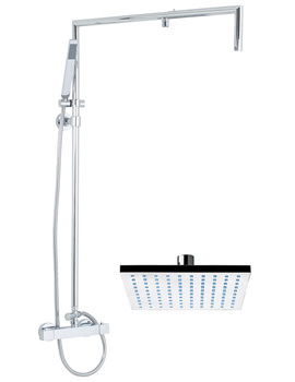 Overhead 200mm Square Wetroom Thermostatic Shower Kit - VP074