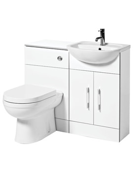 Phoenix Cara 990mm Back To Wall WC Suite Gloss White - FCSUITE