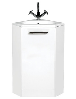 Phoenix Cara Gloss White 400mm Corner Base Unit With Basin - FC002