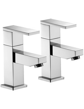 Pura Bloque Pair Of Basin Pillar Taps - BQ12