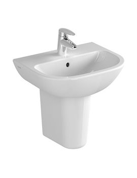 VitrA Layton 1 Taphole 500mm Cloakroom Basin With Semi Pedestal