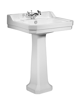 Vitoria 605mm 1 Tap Hole Ceramic Basin And Full Pedestal