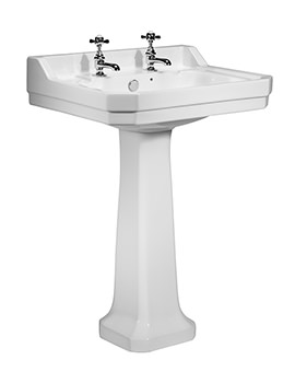 Tavistock Vitoria 605mm 2 Tap Hole Ceramic Basin And Full Pedestal