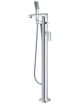 Flova Dekka Floor Mounted Bath-Shower Mixer Tap With Handset And Hose