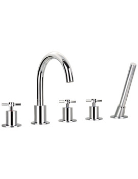 XL 5 Hole Bath-Shower Mixer Tap With Handset And Hose