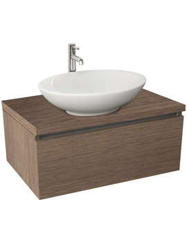 Echo 800mm Soft Oak Single Drawer Wall Mounted Unit And Worktop