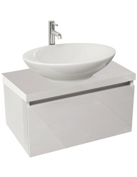 Echo 600mm White Gloss Single Drawer Wall Mounted Unit And Worktop